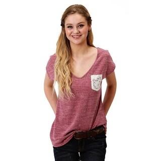 Roper Western Shirt Womens S/S Lace Pocket Plum 03-039-0514-0260 PU
