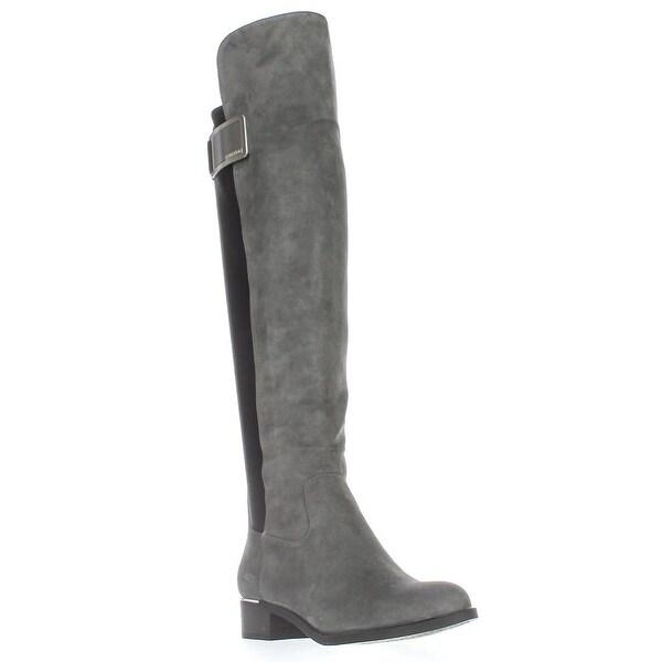 Calvin Klein Cyra Wide Calf Turlock Boots, Shadow Grey/Black
