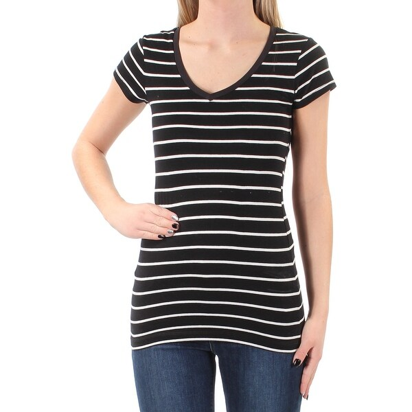 ENERGIE Womens Black Striped Short Sleeve V Neck TShirt Top Juniors Size: XS