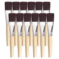 School Smart Black Bristle Short Handle Paint Brush, 1 Inch, Pack of 12