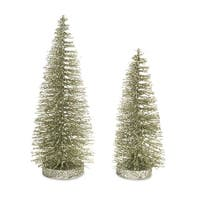 Club Pack of 12 Green and Silver Decorative Artificial Christmas Tree 11""
