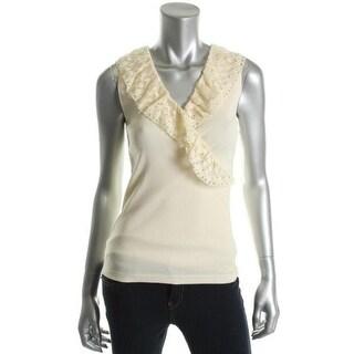 Ralph Lauren Womens Cotton Crochet Trim Tank Top - L