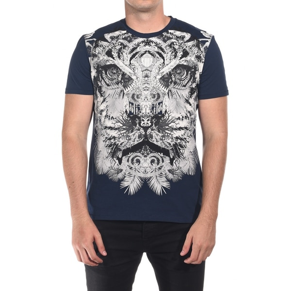 Just Cavalli Men Tiger T-Shirt Dark Navy