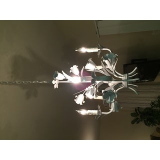 Wrought Iron Floral White Chandelier 5 Lights