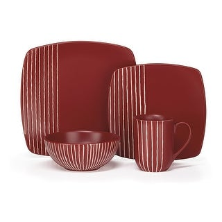 Cuisinart CDST1-S4R Stoneware Anet Collection 16-Piece Dinnerware Sets - Red