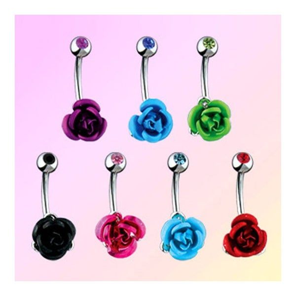 "Navel Belly Button Ring with Colored Metal Rose - 14GA 3/8"" Long (Sold Ind.)"