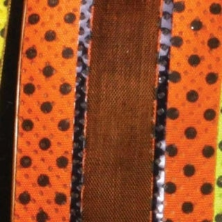 "Just Dotty Bands Orange and Black Sheer Wired Craft Ribbon 1.5"" x 40 Yards"