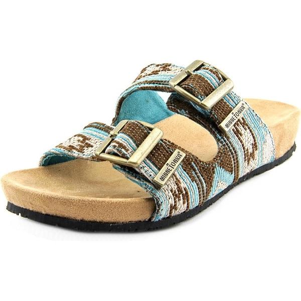 Minnetonka Gypsy Women Open Toe Canvas Blue Slides Sandal