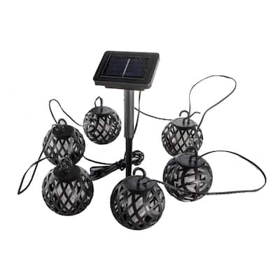 Solar Powered Rattan Ball Flickering Flame Effect LED String Globe Hanging Lantern Lights for Outdoor Garden Cafe Porch Decor