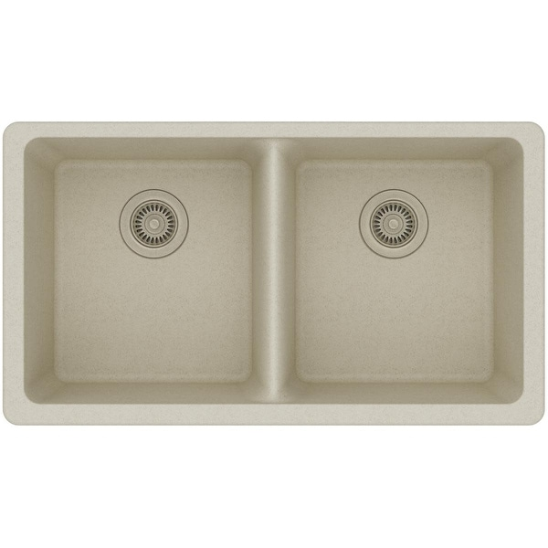 "Elkay ELGU3322 Gourmet 33"" Double Basin Granite Composite Kitchen Sink for Undermount Installations with 50/50 Split"