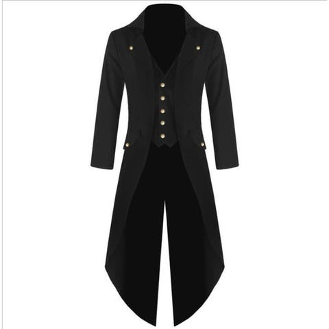 Men's Victorian Steampunk Vintage Asymmetrical Tux Tailcoat Tuxedo - Black - 2XL
