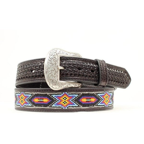 Ariat Western Belt Mens Leather Beaded Inlay Tooled Black