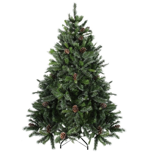 6.5' Snowy Delta Pine with Pine Cones Artificial Christmas Tree - Unlit - green