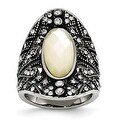 Chisel Stainless Steel Antiqued Crystal and Mother of Pearl Ring (23 mm) - Thumbnail 0