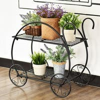 Costway Heavy Duty Metal Flower Cart Pot Rack Plant Display Stand Holder Decor - Black