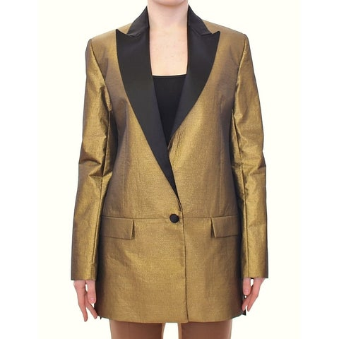 Roberto Fragata Roberto Fragata Black Gold Silk Coat Jacket Long Blazer - it42-m
