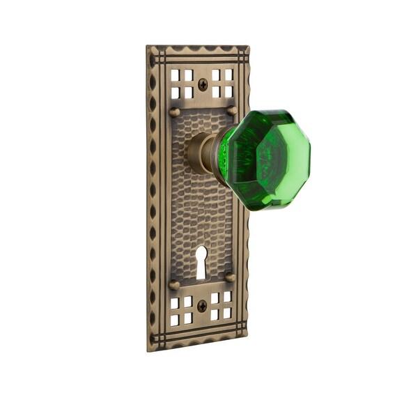 Nostalgic Warehouse CRAWAE_PRV_234_KH Craftsman Solid Brass Rose Privacy Knob Set with Emerald Waldorf Knob and Keyhole for