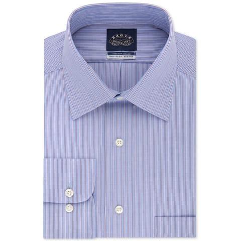 "Eagle Mens Striped Button Up Dress Shirt, Blue, 15.5"" Neck 34""-35"" Sleeve"