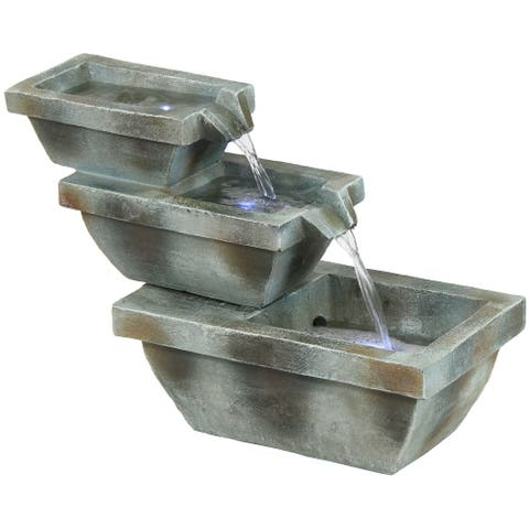 Sunnydaze Stacked Basin Trio Outdoor Fountain with LED Lights - 16-Inch