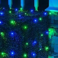 Wintergreen Lighting 72477 100 Bulb 4Ft x 6 Ft LED Decorative Holiday Net Light - Blue/Green - N/A