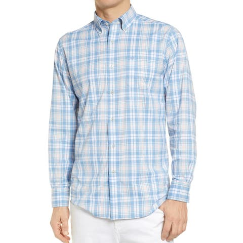 Southern Tide Mens Shirt Blue Size Large L Button Down Plaid Pocket