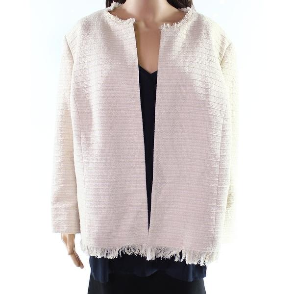 Kasper Beige Champagne Womens Size 20W Plus Tweed Flyaway Jacket