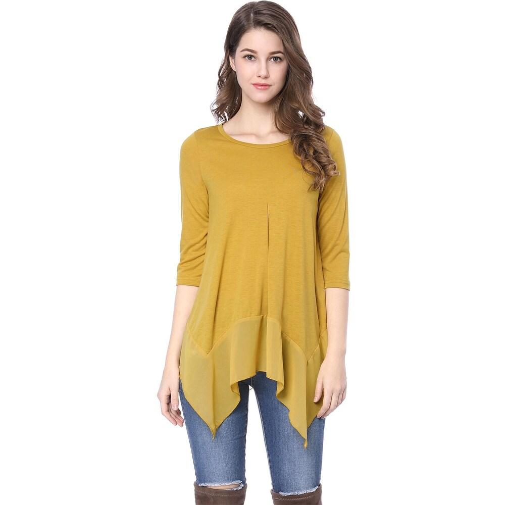 Women 3/4 Sleeves Chiffon Panel High Low Hem Loose Tunic Top - Yellow