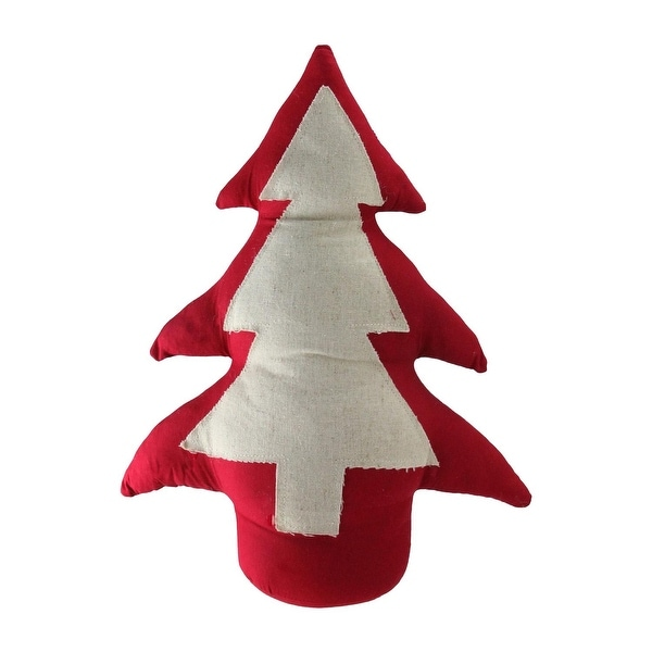 "15"" Red and Neutral Weighted Base Christmas Tree Tabletop Decoration"