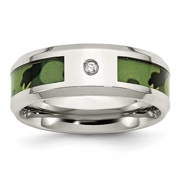 Chisel Stainless Steel Polished Camouflage 0.035ct. Diamond 8mm Band