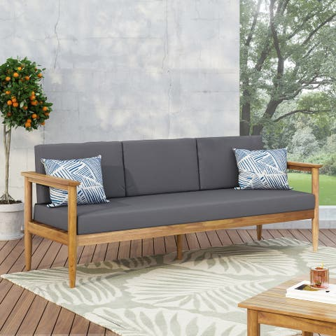 Magnolia Outdoor Acacia Wood 3 Seater Sofa by Christopher Knight Home
