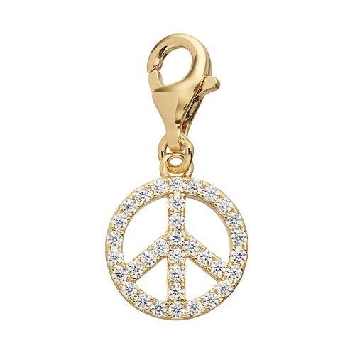 Julieta Jewelry CZ Peace Sign Gold Sterling Silver Charm