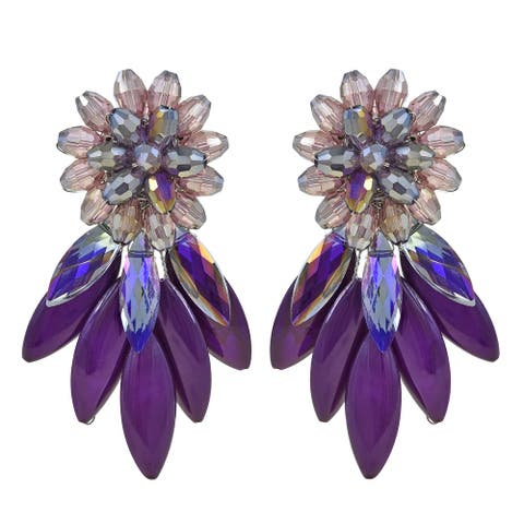Handmade Sparkling Purple Cluster Crystal Beads and Agate Stone Post Stud Earrings (Thailand)