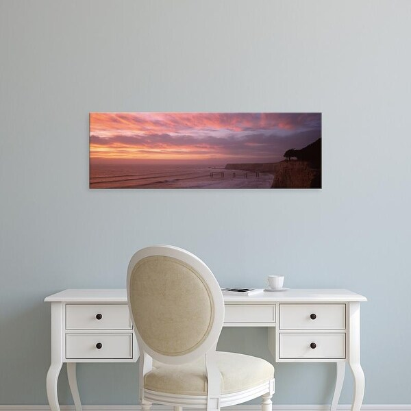 Easy Art Prints Panoramic Images's 'Clouds over the sea at dusk, Davenport, California, USA' Premium Canvas Art