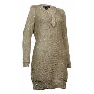 Thalia Sodi Women's Keyhole Sequined Sheen Knit Sweater