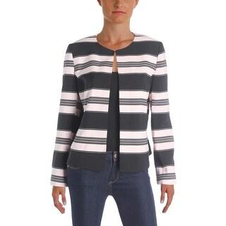 Tahari ASL Womens Petites Collarless Blazer Textured Striped