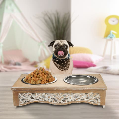 """Handmade Mango Wood Elevated Double Pet Feeder with White Floral Filigree Cutouts - 21"""" x 11"""" x 5"""""""