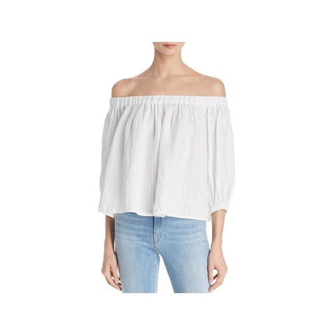 Frame Denim Womens Blouse Off-The-Shoulder Pleated - XS