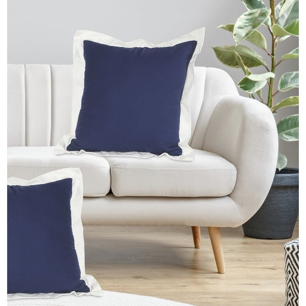 Navy and White Ribbon Border Throw Pillow. Opens flyout.