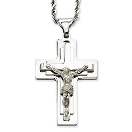 Stainless Steel Polished Crucifix Pendant 24in Necklace (3 mm) - 24 in