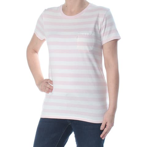 LEVI'S Womens Pink Pocketed Striped Short Sleeve Scoop Neck T-Shirt Top Size: XS