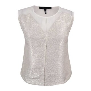 Robert Rodriguez Women's Metallic Sleeveless Blouse - eggshell cream - m