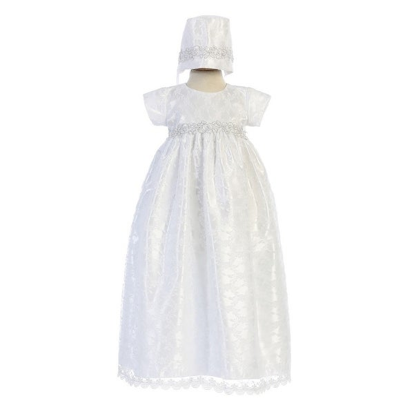 e70248f48 Shop Swea Pea & Lilli Baby Girls White Silver Embroidered Christening Dress  - Free Shipping Today - Overstock - 28294963