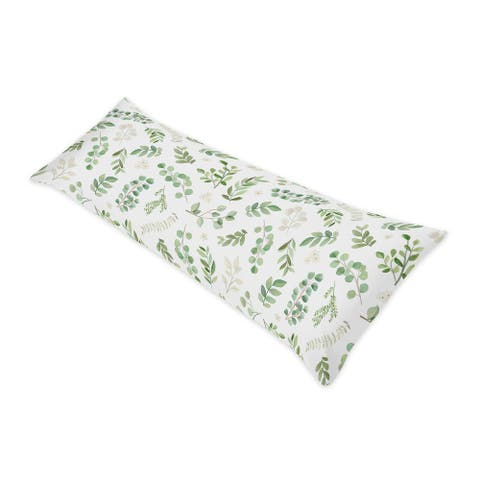 Floral Leaf Collection Body Pillow Case (Pillow Not Included) - Green White Boho Watercolor Botanical Woodland Tropical Garden