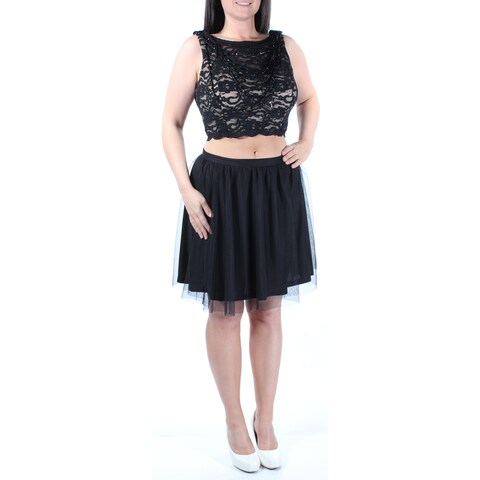Womens Black Sleeveless Above The Knee Fit + Flare Party Dress Size: 11