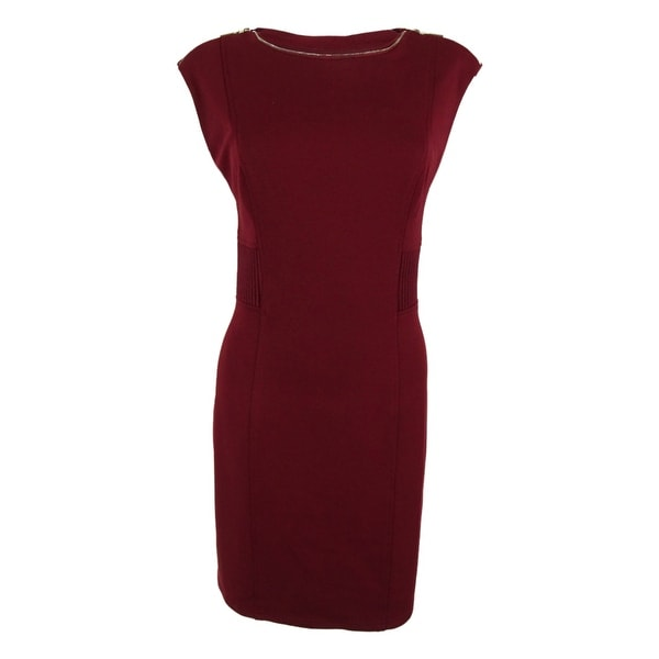 2c6a35f1c16 Shop Spense Women s Cap Sleeve Zipper Detail Ribbed Dress - Cranberry - 8P  - On Sale - Free Shipping Today - Overstock - 14816242