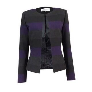 Tahari Women's Petite Striped Open-Front Blazer 4P, Eggplant/Black/Grey - 4P