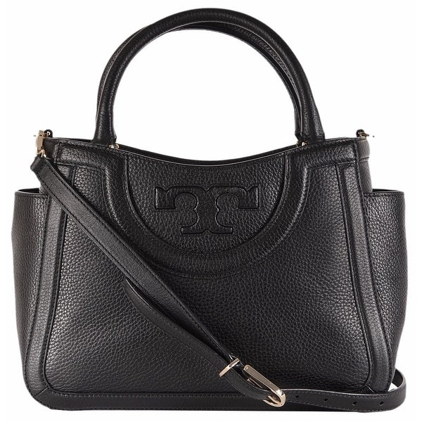 cd8f6c566a Shop Tory Burch Women's Black Leather Serif T Small Crossbody Satchel Purse  - Free Shipping Today - Overstock - 12014355