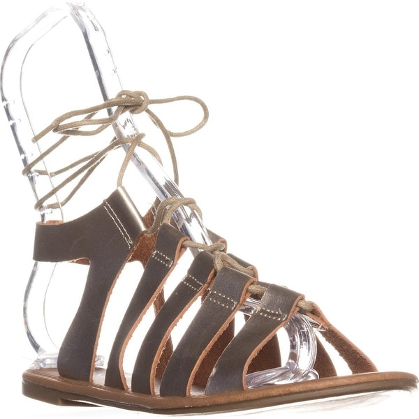 Wanted Ghillie Flat Lace-Up Sandals, Gold - 6.5 us / 36.5 eu