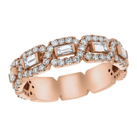 14k Rose Gold 1ct TDW Baguette and Round Diamonds Wedding Band Ring by Beverly Hills Charm