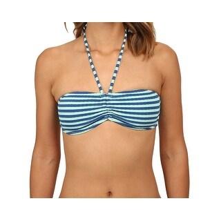 Volcom NEW Blue Women's Size XS Bikini Top Striped Swimwear